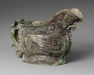 Working Title/Artist: Spouted ritual wine vessel Department: Asian Art Culture/Period/Location: Shang dynasty HB/TOA Date Code: 03 Working Date: 13th c. BC photography by mma, Digital File DP140733.tif retouched by film and media (jnc) 6_1_10